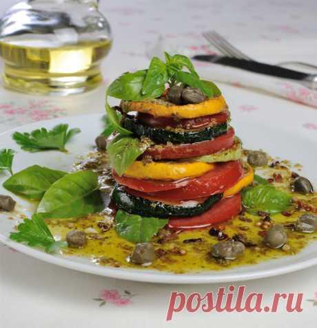 Запеченные овощи - теплый салат рецепт с фото пошагово