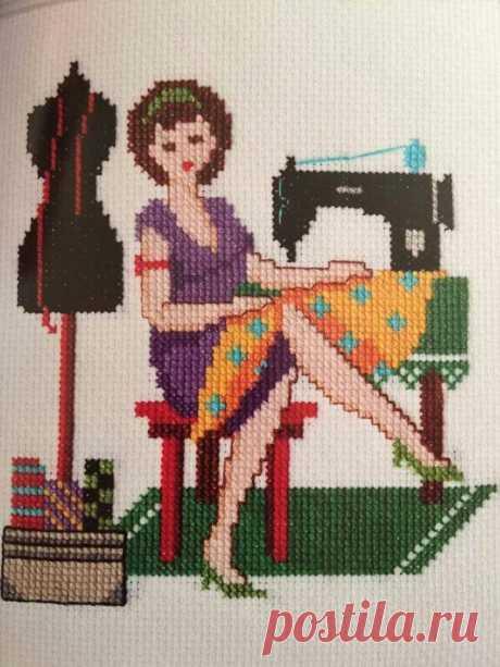 """""""Модистка"""". Схема к вышивке на тему """"Парижанка"""". Схему сделала по фотографии готовой вышивки, которую нашла в интернете. Схему делала с помощью программы на сайте xfloss ru."""