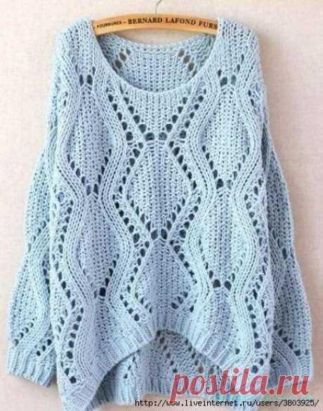"""Узор для пуловера в стиле """"оверсайз"""" - красивое вязание"""