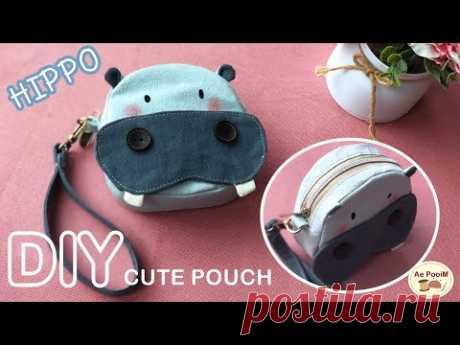 DIY CUTE POUCH, HIPPO PURSE, free pattern   วิธีทำกระเป๋าถือฮิปโปน้อยแบบน่ารัก