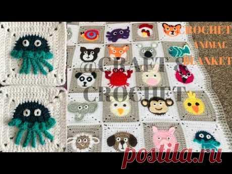 Вязание крючком медузы / вязаное одеяло / вязаное одеяло для животных / часть: 27
