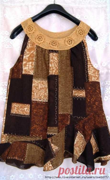Из юбки- топик. Моя переделка с комбинированием ткани и вязания крючком.