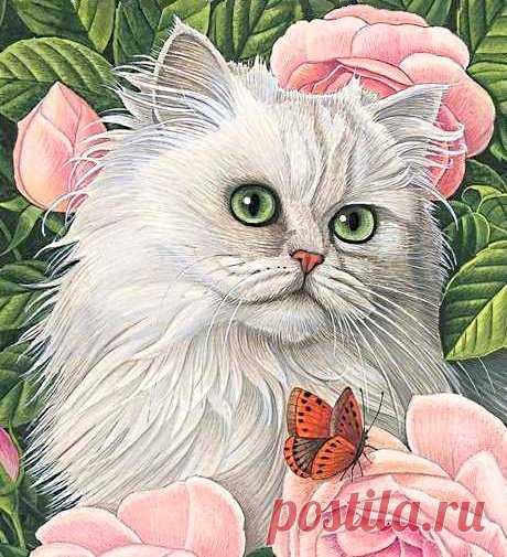 Схема вышивки «кошки и цветы» - Вышивка крестом