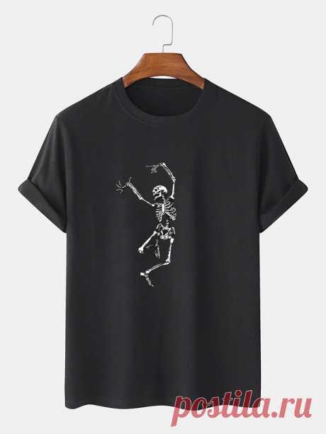 Halloween Mens 100% Cotton Skeleton Print Round Neck Short Sleeve T-Shirts - US$12.99