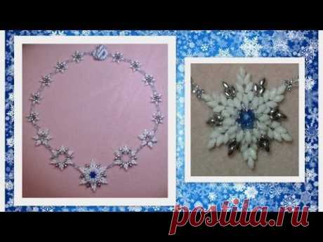 Frosted Feelings (beaded snowflakes) Beading Tutorial by HoneyBeads1 (with superduo beads)