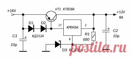 Схема и описание мощного стабилизатора напряжения на МС КРЕН5А с ограничением тока | ASUTPP | Яндекс Дзен
