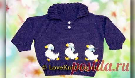 Пуловер с утятами