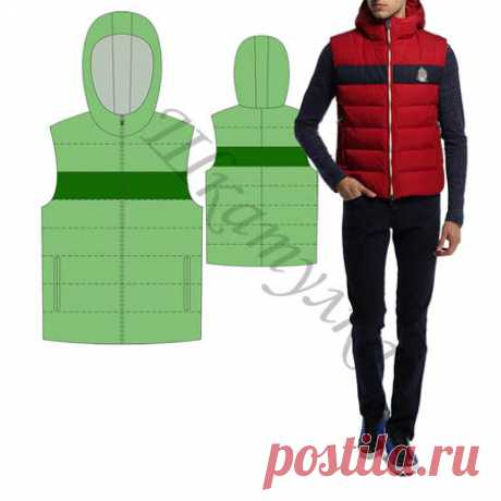(+1) Утепленный мужской жилет с капюшоном (шитье, выкройки)