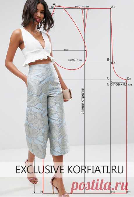 Выкройка брюк-кюлоты от Анастасии Корфиати Брюки-кюлоты - настоящий хит сезона! Эту простую выкройку брюк-кюлоты вы сможете построить буквально за 15 минут. Идеальная посадка и точный крой брюк.