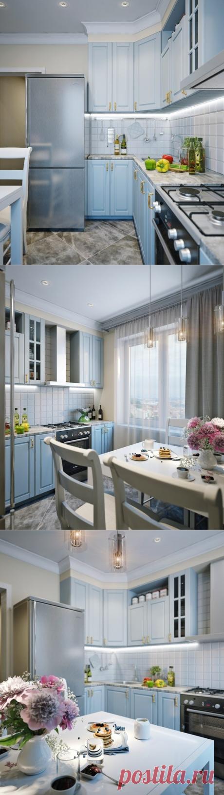 Голубая кухня 8 кв. м — Lodgers - Дизайн интерьера