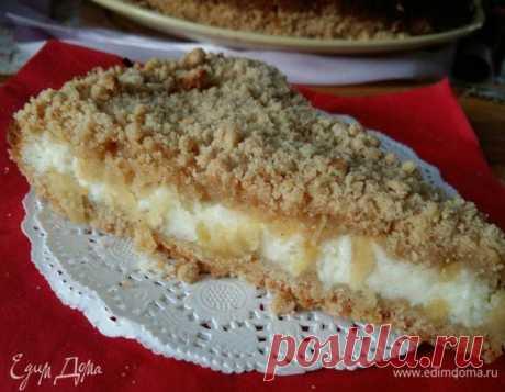 Насыпной пирог с творогом и яблоками. Ингредиенты: пшеничная мука, гречневая мука, кукурузная мука   Едим Дома кулинарные рецепты от Юлии Высоцкой