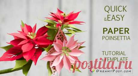 Paper Poinsettia template and step by step tutorial Paper Poinsettia could be last for years, and here is the super quick and easy method to make these Christmas crafts. Simple materials needed.