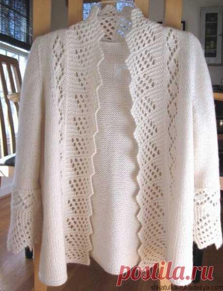 Кардиганы для полных вязание. Схема вязания жакет спицами Жакет с ажурной каймой спицами. Схема вязания жакет спицами