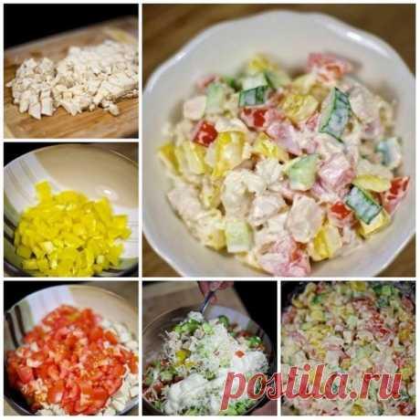 Салат с курицей и овощами   Ингредиенты: ●Куриное филе — 300 Грамм  ●Перец болгарский — 1 Штука  Показать полностью…
