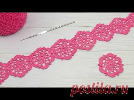 БЕЗОТРЫВНОЕ вязание крючком ЛЕНТОЧНОЕ КРУЖЕВО из цветочных мотивов Crochet Ribbon Lace Motif Flower