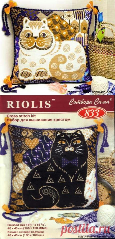 Декоративные подушки с КОШКАМИ. Вышивка крестом.