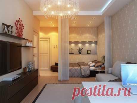 Идеи интерьера для однокомнатной квартиры  Квартира всего с одной жилой комнатой может создать своему владельцу немало проблем, особенно если в ней проживает не один человек. В любом случае комнате придется брать на себя сразу несколько функций – спальни, гостиной, возможно, кабинета или детской.  Квартира – студия  Из обычной однокомнатной квартиры можно сделать модную и современную квартиру-студию, когда все помещения – комната, кухня и прихожая, объединены в единое прос...