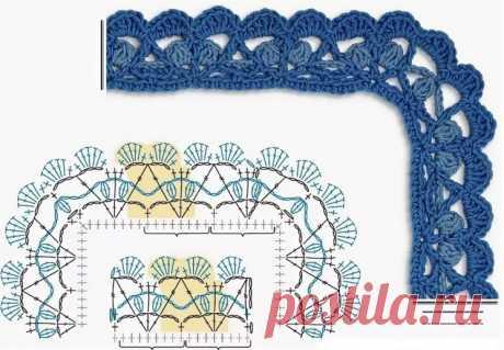 Схемы для обвязывания края крючком для начинающих (УЗОРЫ КРЮЧКОМ) – Журнал Вдохновение Рукодельницы