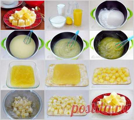 Turkish Delight Skrobia kukurydziana - 1 łyżka. Cukier - 1,5 łyżki. Woda - 1,5 łyżki. Sok z cytryny - 3 łyżki. l Sok pomarańczowy - 1 łyżka.