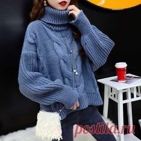 Пуловер оверсайз с королевской косой.