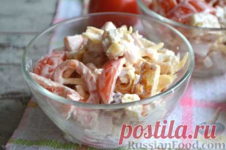 Рецепт: Салат с ветчиной, помидорами и сыром на RussianFood.com