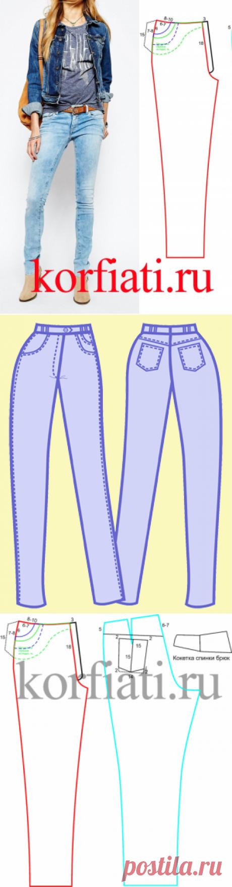 Выкройка джинсовых брюк от А. Корфиати