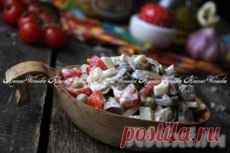 Салат с куриными сердечками и маринованным луком - 12 пошаговых фото в рецепте