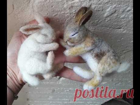 DIY Sleeping needle felting Wild Bunny  Rabbit - The Wishing Shed- asmr