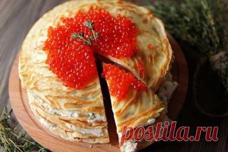Необычный блинный торт с лососем к масленице — Делимся советами
