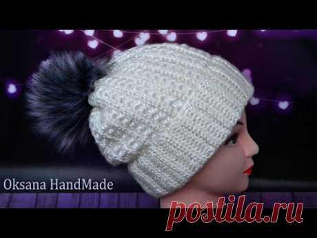 По-настоящему зимняя теплая, мягкая шапка крючком  Мастер класс. Crocheted hat pattern