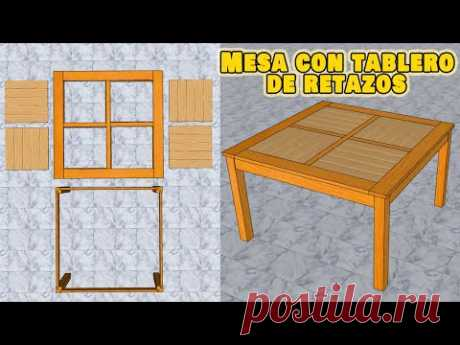 Como hacer una mesa de retazos de MADERA - YouTube