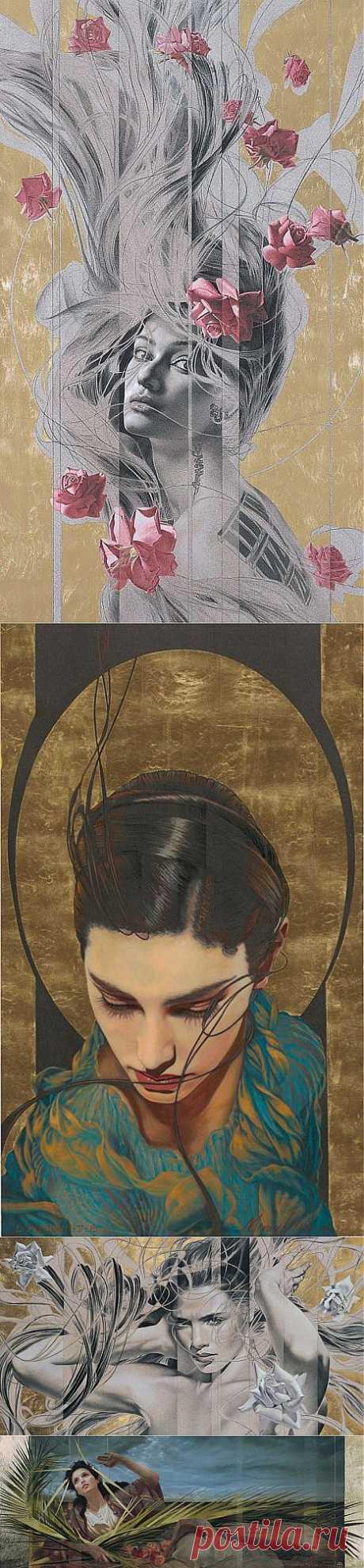 Manuel Nunez. Живопись с применением золота. Нестандартные женские портреты | Usenkomaxim.ru