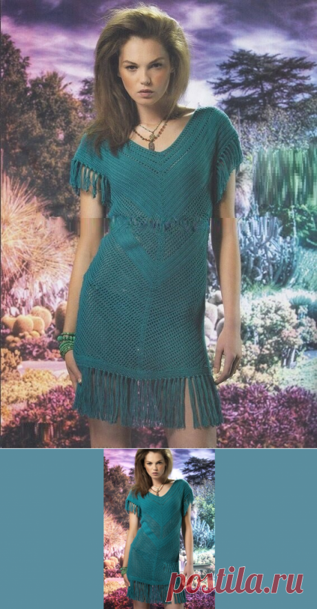 Бирюзовое платье крючком - Lilia Vignan