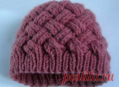 Шапка женская спицами двухсторонняя. Вязаная женская шапка спицами.   Вязание для всей семьи