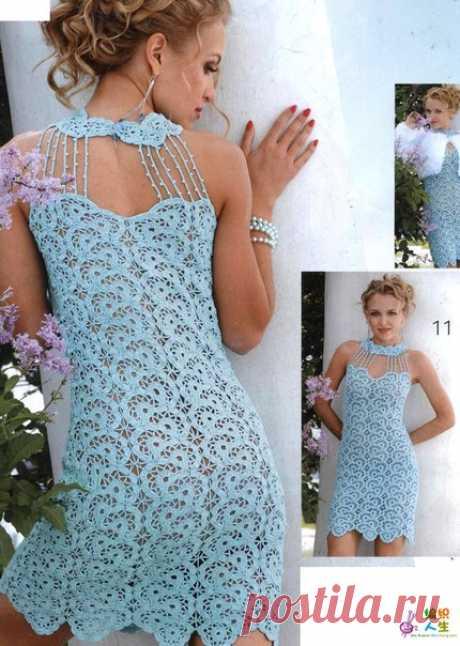 Нежное вязаное вечернее платье