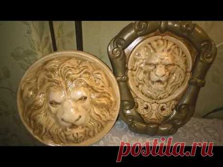 "2 панно ""Голова льва"", окрашивание кофе"