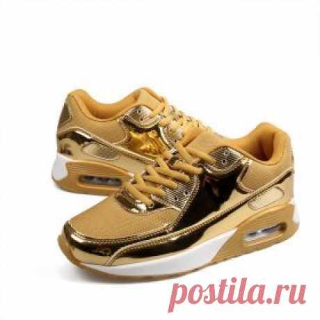 Женские кроссовки, сникерсы лакированные под металл, золото, серебро