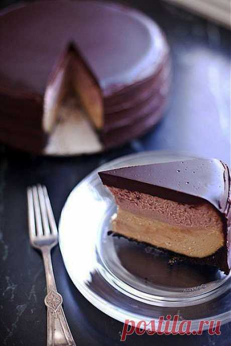 Двухслойный чизкейк с желе в шоколадной глазури | Готовим вместе