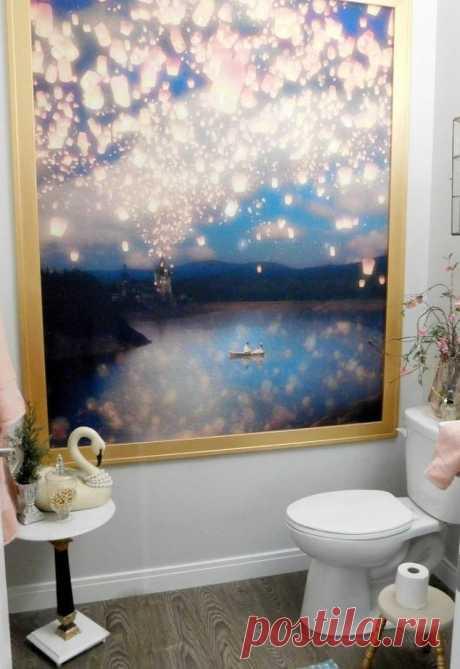 Из занавески для душа можно сделать отличное украшение для ванной комнаты