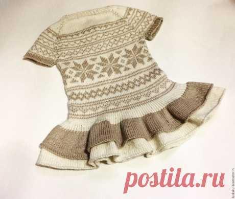 Платье с воланами из хлопка с шелком жаккард снежинки – купить в интернет-магазине на Ярмарке Мастеров с доставкой