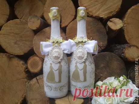 Купить Свадебное шампанское - комбинированный, шампанское на свадьбу, свадебное украшение, свадебные аксессуары, свадебный подарок