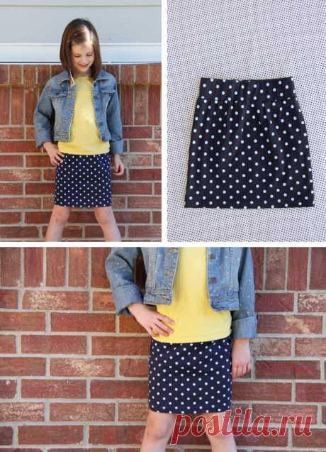 Как сшить прямую юбку для девочки из трикотажной ткани