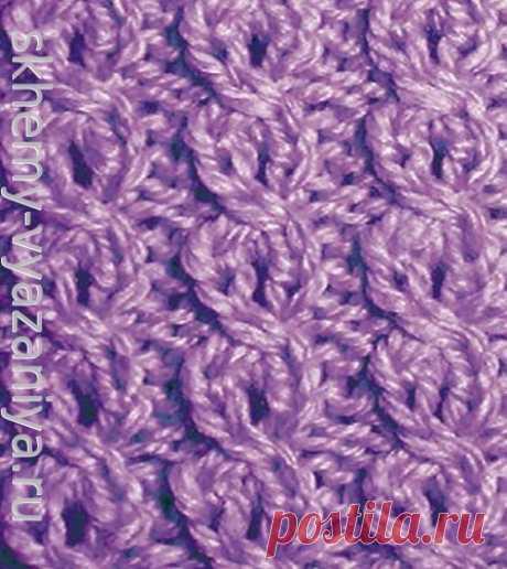 Мелкие цепочки с перемещением петель - схема вязания узора спицами