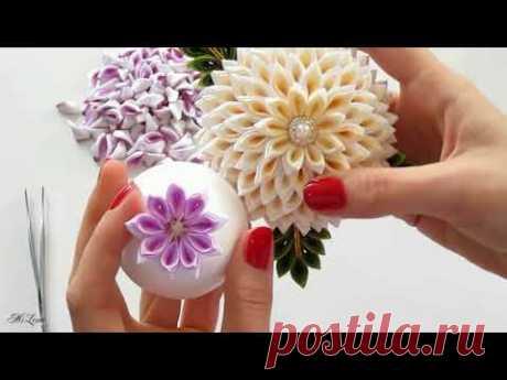 ЦВЕТОК КАНЗАШИ, МК _ DIY LAYERED KANZASHI FLOWER
