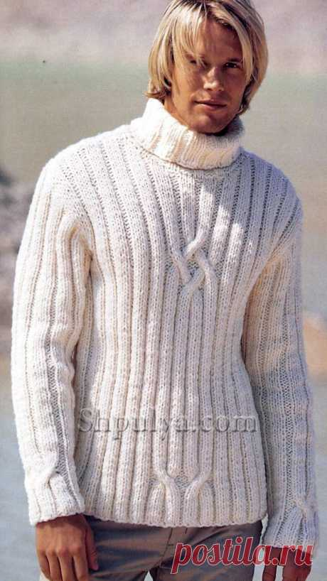 www.SHPULYA.com - Белый мужской свитер, вязаный спицами