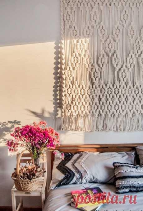 Фото и схемы плетения панно Макраме на стену своими руками: современный взгляд на Макраме в интерьере | Крестик