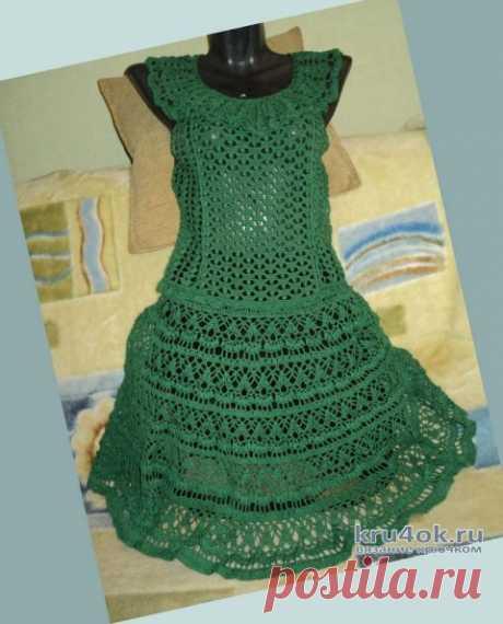 Летнее женское платье крючком. Работа Ольги