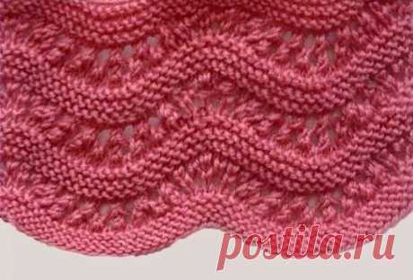 Узор для кругового вязания Красивый узор спицами для вязания вкруговую подойдет для шапок, снудов, свитеров и других вещей.