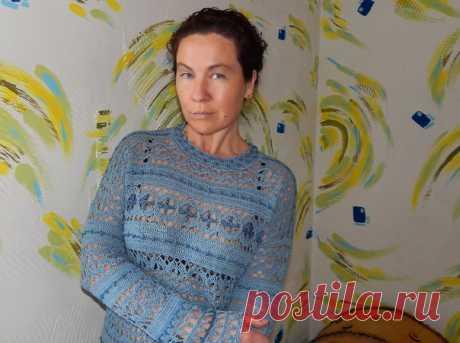 """Пуловер """"Ионическое море""""... хлопок Анна16, в комбинации с вискозой Сапфир...связано с любовью..."""