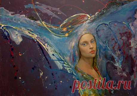 """Пример портрета в абстракцие картина """"Мистерия""""  Размер 116х85см холст, масло цена  2500$"""